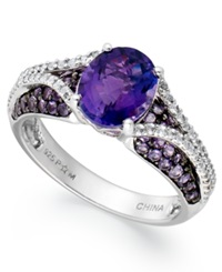 Macy's Sterling Silver Ring Amethyst 2 1 3 Ct. T.W. And White Topaz 3 4 Ct. T.W. Oval Pave Ring