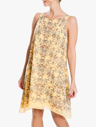 Max Studio Floral Print Sleeveless Dress Yellow Blush