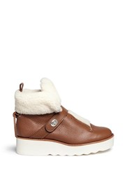 Coach 'Urban Hiker' Shearling Leather Platform Boots Brown