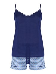 Cyberjammies Ophelia Tile Print Cami And Shorts Pj Set Blue