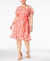 Jessica Howard Plus Size Floral Print Pintucked Dress Ivory Coral