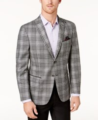 Tallia Men's Big And Tall Slim Fit Black White Plaid Soft Sport Coat Black White