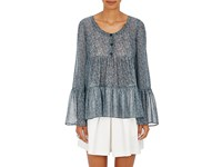 R R Studio By Robert Rodriguez Women's Tiered Floral Silk Chiffon Top Light Blue