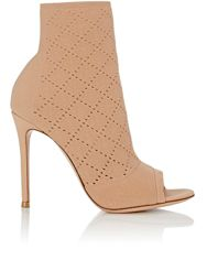 Gianvito Rossi Women's Perforated Knit Ankle Booties Colorless