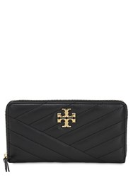 Tory Burch Quilted Leather Zip Around Wallet Black