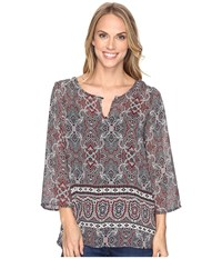 Stetson Gypsy Border Chiffon Peasant Top Grey Women's Clothing Gray