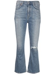 Citizens Of Humanity Distressed Cropped Jeans Blue