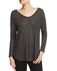 Aqua Stripe Long Sleeve Tee Black White