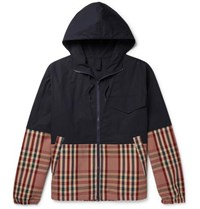 Barena Panelled Stretch Cotton Shell And Checked Cotton Blend Drill Jacket Navy
