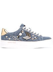 Gianni Renzi Studded Denim Sneakers Women Cotton Leather Metal Rubber 36 Blue