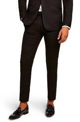 Topman Satin Stripe Skinny Fit Suit Trousers Black