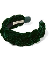Jennifer Behr Lorelei Braided Velvet Headband Dark Green