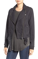 Paige Women's 'Majorie' Asymmetrical Moto Jacket Washed Black