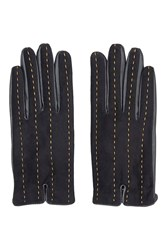 Stab Stitch Leather Gloves Black