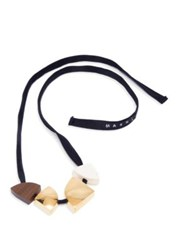Marni Poui Wood And Leather Pendant Necklace Lily White