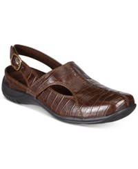 Easy Street Shoes Sportster Comfort Clogs Women's Brown Croco