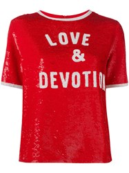 Ashish 'Love And Devotion' Sequin T Shirt Women Silk S Red