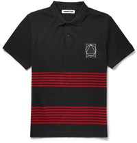 Mcq By Alexander Mcqueen Striped Cotton Pique Polo Shirt Black