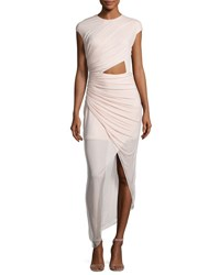 Halston Cap Sleeve Ruched Jersey Cocktail Dress Primrose Pink