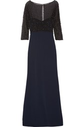 Badgley Mischka Embellished Tulle And Stretch Cady Gown Black