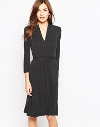 French Connection Long Sleeve Polka Dot Dress Grey