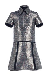 Burberry Floral Jacquard Shirt Dress Silver