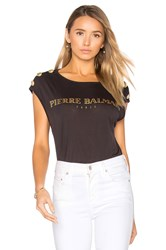 Balmain Crew Neck Graphic T Shirt Black