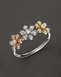 Bloomingdale's Diamond Flower Ring In 14K Yellow White And Rose Gold .30 Ct. Tw 100 Exclusive No Color