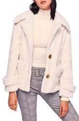 Free People So Soft Faux Fur Peacoat Ivory