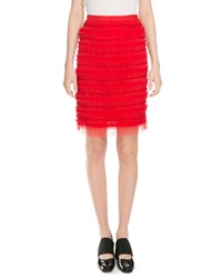 Givenchy Striped Tulle Skirt Red