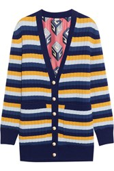 Gucci Reversible Striped Wool And Printed Silk Cardigan Blue
