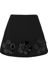 Victoria Beckham Floral Appliqued Wool Mini Skirt