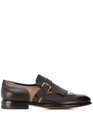Santoni Fringed Buckle Loafers Brown