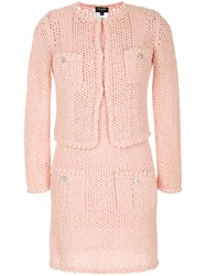 Chanel Vintage Knitted One Piece Set Pink And Purple