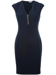 Versace Collection Zipped V Neck Dress Women Polyester Spandex Elastane Viscose 46 Blue