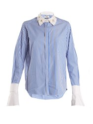 Muveil Embellished Collar Striped Cotton Shirt Blue White
