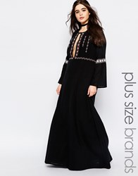 Alice And You Panel Embroidered Folk Maxi Dress Black