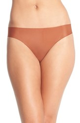 Women's Halogen Seamless Mesh Thong Brown Shell