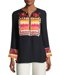 Figue Lisbette Embroidered Cotton Tunic Navy