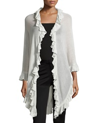 Minnie Rose Ruffle Trim Shawl Light Gray