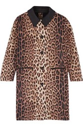 Boutique Moschino Leopard Print Wool Blend Coat Animal Print