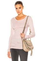 Enza Costa Rib Long Sleeve Tee In Pink Neutrals Pink Neutrals