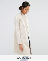 Asos Tall Mac With Minimal Styling Stone Beige