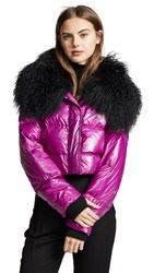 Jocelyn Cropped Puffer Jacket Fuschia