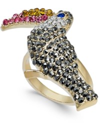Inc International Concepts I.N.C. Gold Tone Crystal Pave Tucan Statement Ring Gold Multi