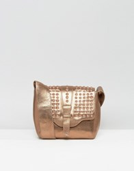 Urbancode Real Leather Bronze Cross Body Bag With Tonal Studded Flap Copper