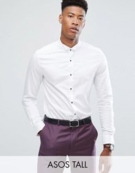Asos Tall Slim Sateen Shirt With Wing Collar And Contrast Buttons White