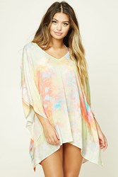 Forever 21 Abstract Cover Up Kaftan Pink Multi