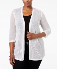 Charter Club Plus Size Pointelle Open Front Cardigan Only At Macy's Bright White