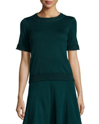 Andrew Gn Knit Short Sleeve Sweater Bottle Green
